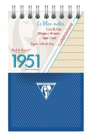 "195156 Clairefontaine Top Wirebound Notepads ""1951"" - Bleu"
