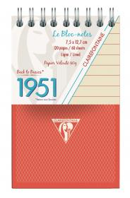 "195156 Clairefontaine Top Wirebound Notepads ""1951"" - Red"