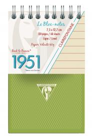 "195156 Clairefontaine Top Wirebound Notepads ""1951"" - Kaki"