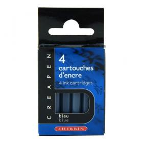 H20416 J. Herbin 4 Cartridges for Refillable Brush & Marker - Bleu